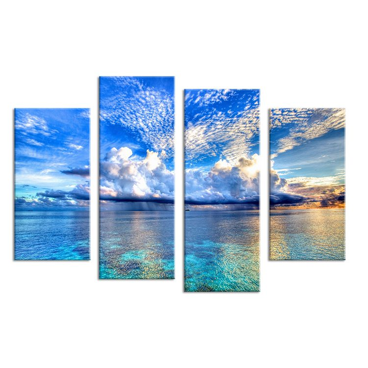 4PCS-beautiful-ocean-sunset-landscape-Wall-painting-print-on-canvas-for-home-decor-ideas-paints-on