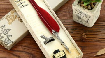 Continental-carved-retro-Red-blue-white-color-Feather-QUILL-Pen-and-Ink-Set-YM04