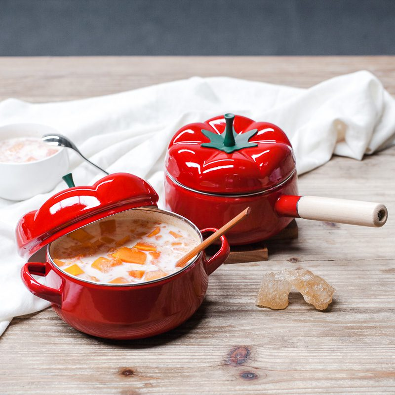 Red-Soup-pots-Tomato-enamel-pot-Single-handle-two-ears-pot-Kitchen-tools-dinnerware