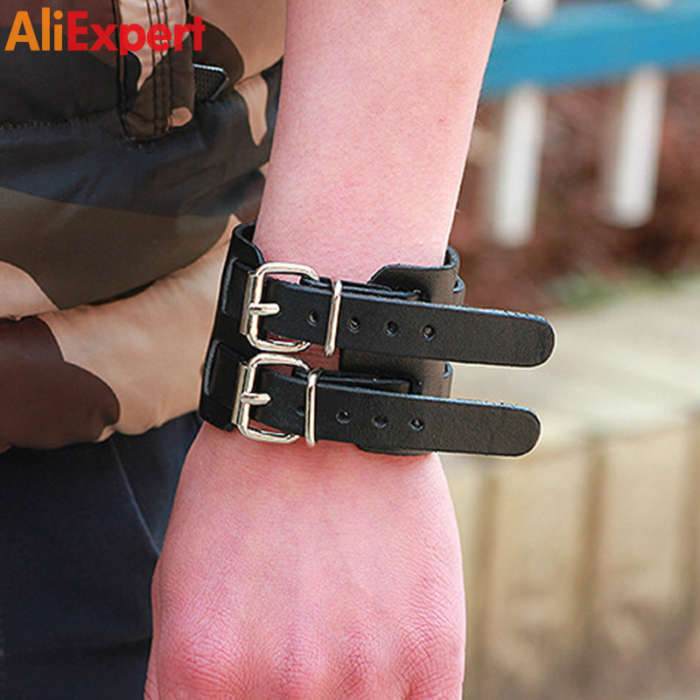 black-brown-strap-double-belt-wide-leather-adjustable-buckle-wristband-cuff-bracelet-casual-jewelry-for-men