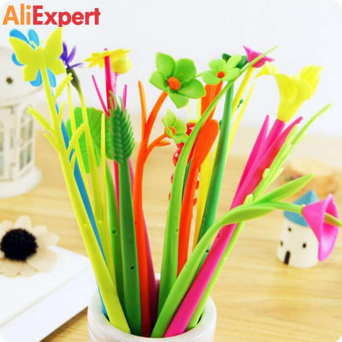 free-shipping-12-pieces-lot-beautiful-flower-gel-pens-fashion-gift-cute-sign-pen-school-office