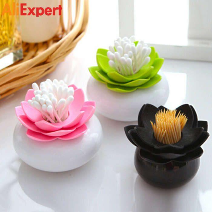 new-plastic-lotus-cotton-swab-box-cotton-bud-holder-lotus-toothpicks-holder-toothpick-case-novelty-households