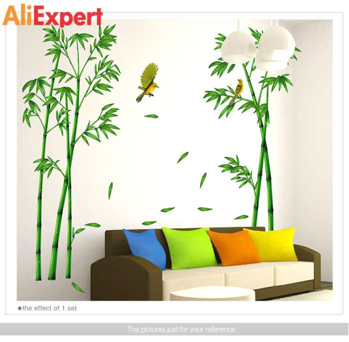 2pcs-green-bamboo-forest-wall-sticker-decorative-self-adhesive-wall-decals-diy-home-decor-sticker-for
