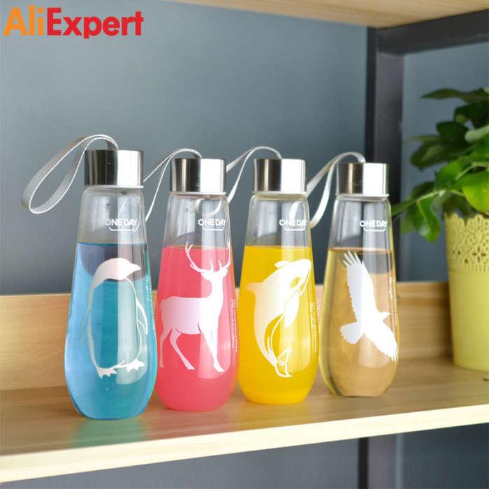 480ml-water-bottle-with-bag-leak-proof-glass-water-bottle-drinkware-transparent-water-bottles-cute-anima