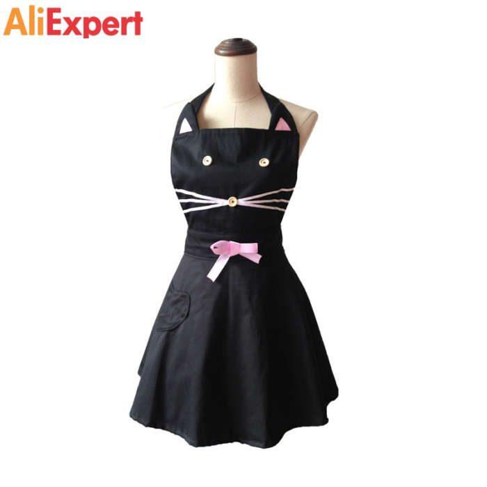 cartoon-cat-cute-black-woman-kitchen-apron-cotton-waitress-salon-hairdresser-cooking-apron-dress-avental-de