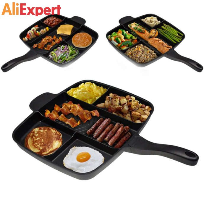 5-grids-non-stick-frying-pan-black-aluminum-alloy-fryer-pan-grill-fry-oven-skillet-household