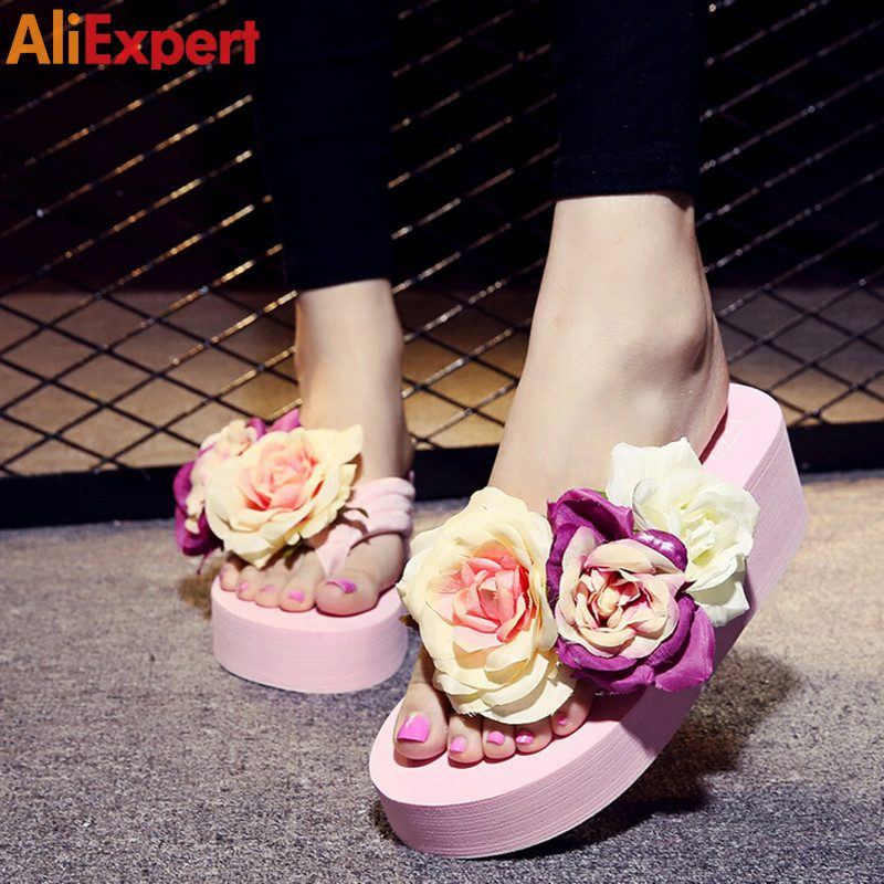 Summer-style-women-shoes-muffin-sandals-flip-flops-slope-with-non-slip-Rose-high-heels-slippers