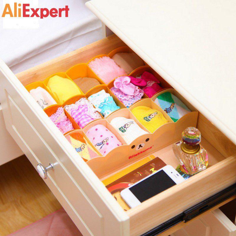 CUSHAWFAMIY-bear-5-grid-plastic-boxes-multi-purpose-Storage-Box-Underwear-Bra-Socks-Tie-Organizer-Divider