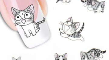 Fashion-Lovely-Sweet-Water-Transfer-3D-Grey-Cute-Cat-Pets-Pattern-Nail-Sticker-Full-Wraps-Manicure